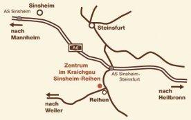 Anfahrtsplan zur Anreise zum Zentrum im Kraichgau - Bonding Psychotherapie - Jeff und Julia Gorden