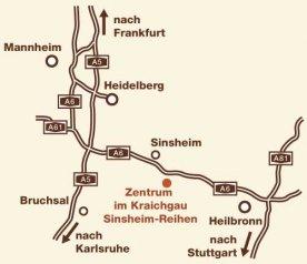 Übersichtsplan zur Anreise zum Zentrum im Kraichgau - Bonding Psychotherapie - Jeff und Julia Gorden